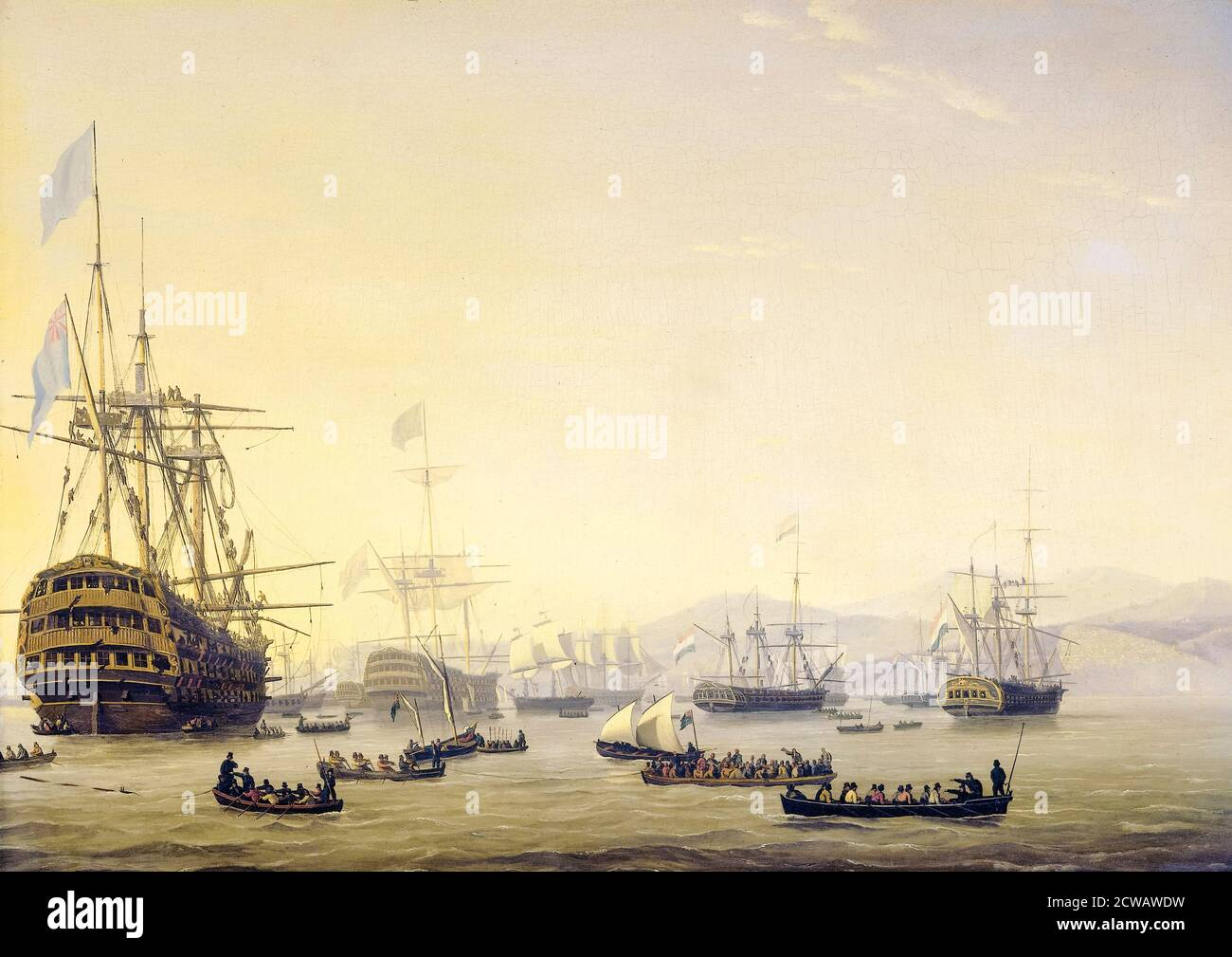 Council of War on board HMS Queen Charlotte commanded by Lord Exmouth prior to the Bombardment of Algiers on the 26th August 1816, painting by Nicolaas Baur, 1818 Stock Photo