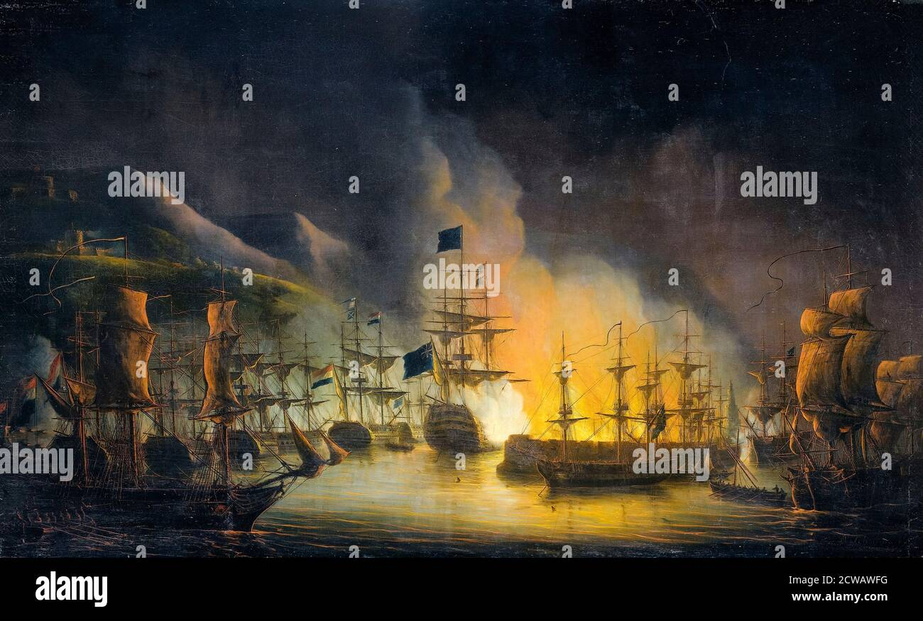 The Bombardment of Algiers on the 26th-27th August 1816, painting by Martinus Schouman, 1823 Stock Photo