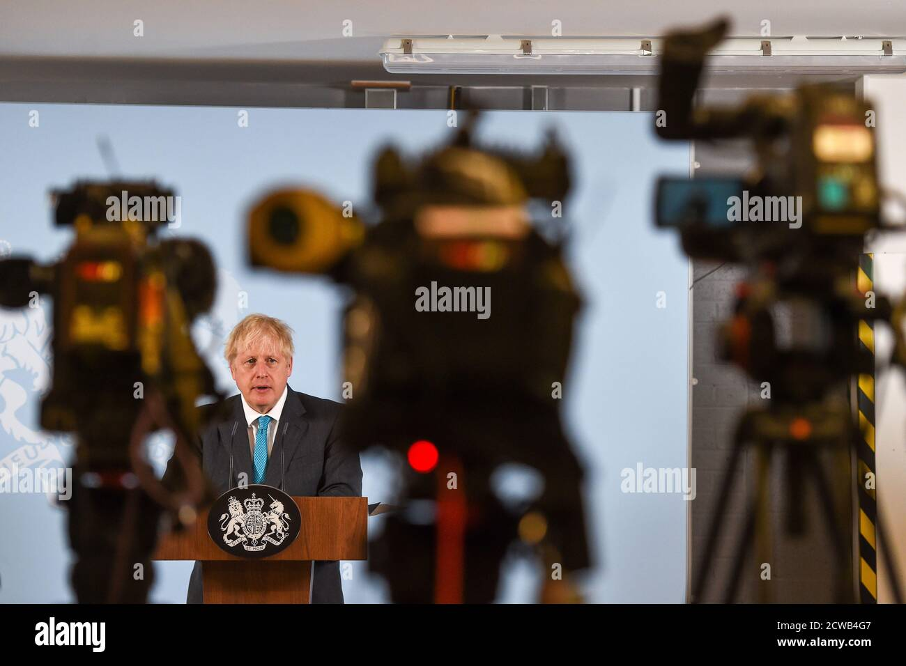 Prime Minister Boris Johnson Delivers A Speech During A Visit To Exeter College Construction Centre Exeter