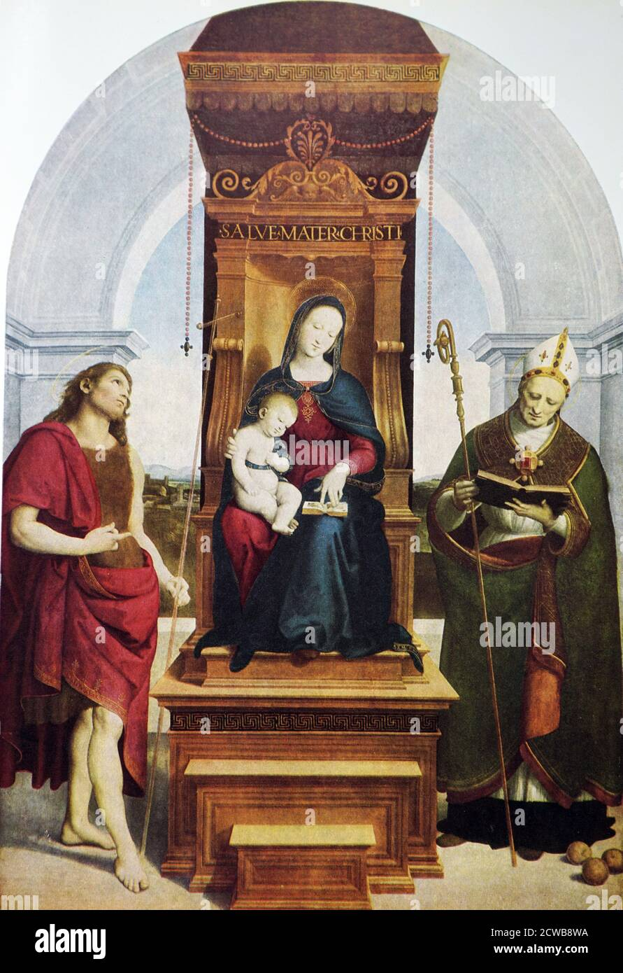Painting titled 'The Ansidei Madonna' by Raphael. Raffaello Sanzio da Urbino (1483-1520) an Italian painter and architect of the High Renaissance. Stock Photo