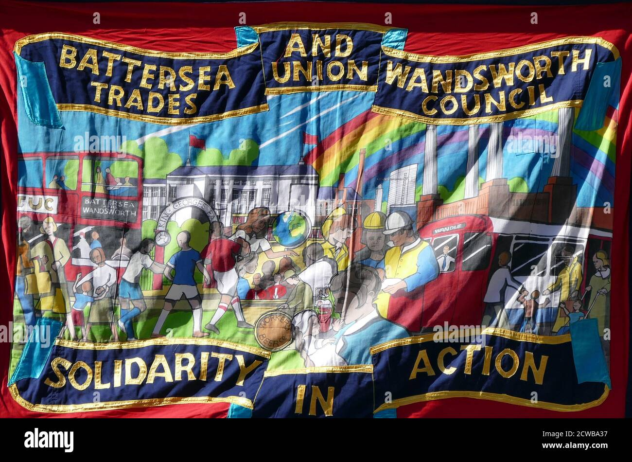 Battersea & Wandsworth Trade Union Council Banner. Battersea and Wandsworth Trades Union Council (BWTUC) represents workers across the economy from education, health, retail and wholesale distribution, communications, transport, construction and other parts of the service sector. The organisation was first established in Battersea in 1894 by the prominent then leader of the labour movement John Burns. John Burns was the second ever Labour MP, alongside Kier Hardy, to be elected to Parliament Stock Photo