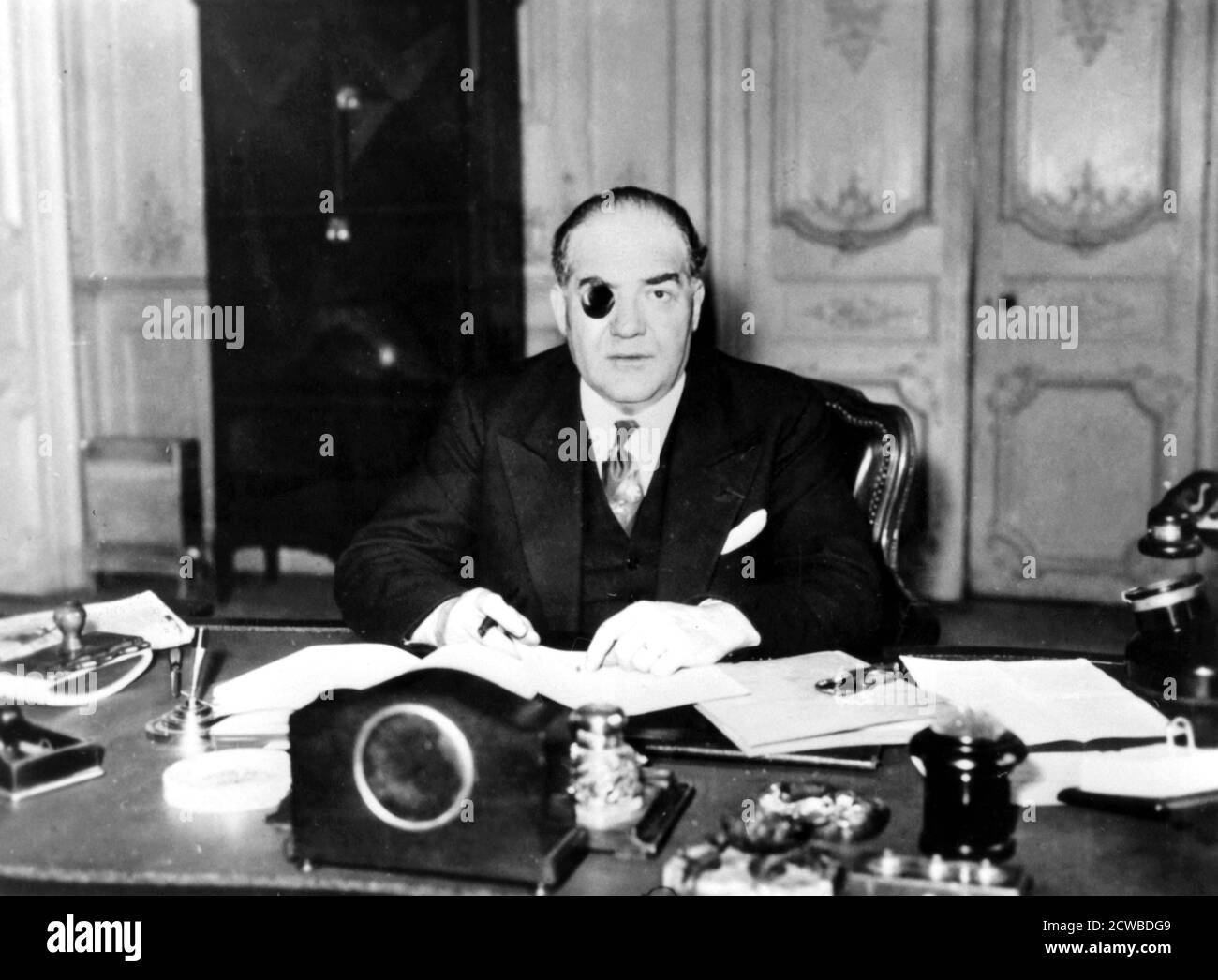Xavier Vallat, Vichy French Commissioner-General for Jewish Questions, France, April, 1941. Vallat was appointed head of the Commissariat-General for Jewish Questions, the body responsible for implementing the Vichy regime's anti-semitic laws, in March 1941. Vichy France co-operated enthusiastically with the Nazis plans for the extermination of the Jews. Some 76,000 French Jews were rounded up and sent to concentration camps between 1942 and 1944, with only 2500 surviving. Vallat was dismissed as Commissioner-General in May 1942 for his criticism of the refusal of the Nazis to release France's Stock Photo