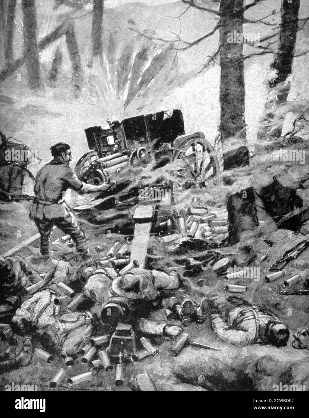 Heroism of a Italian 75mm Battery', World War I, 1915. A print from Le Pays de France, 30 September 1915. The artist is unknown. Stock Photo