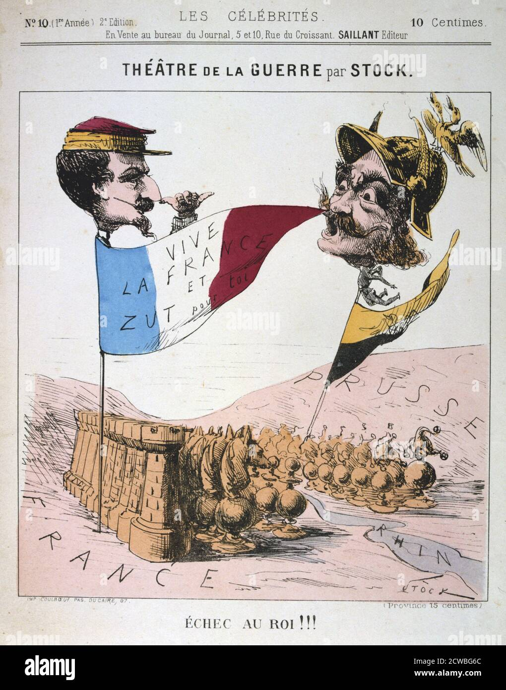 Echec au Roi', Franco-Prussian War, 1870-1871. Caricature of Napoleon III of France and Wilhelm I of Prussia from Les Celebrates. From a private collection. Stock Photo