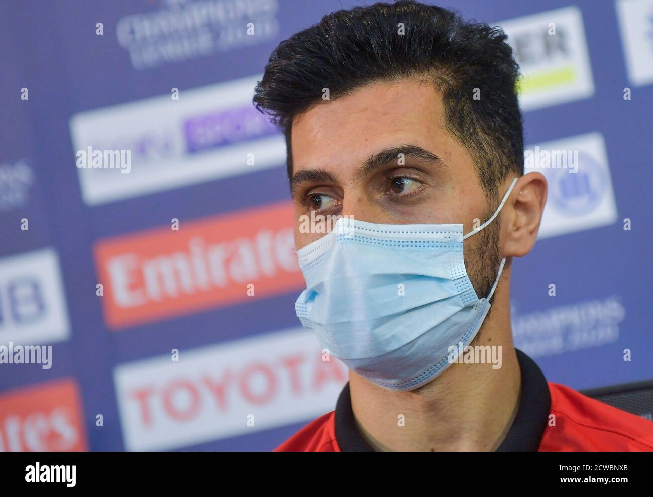 Doha Qatar 29th Sep 2020 Persepolis Fc Player Omid Ali Shah Attends A Press Conference Ahead