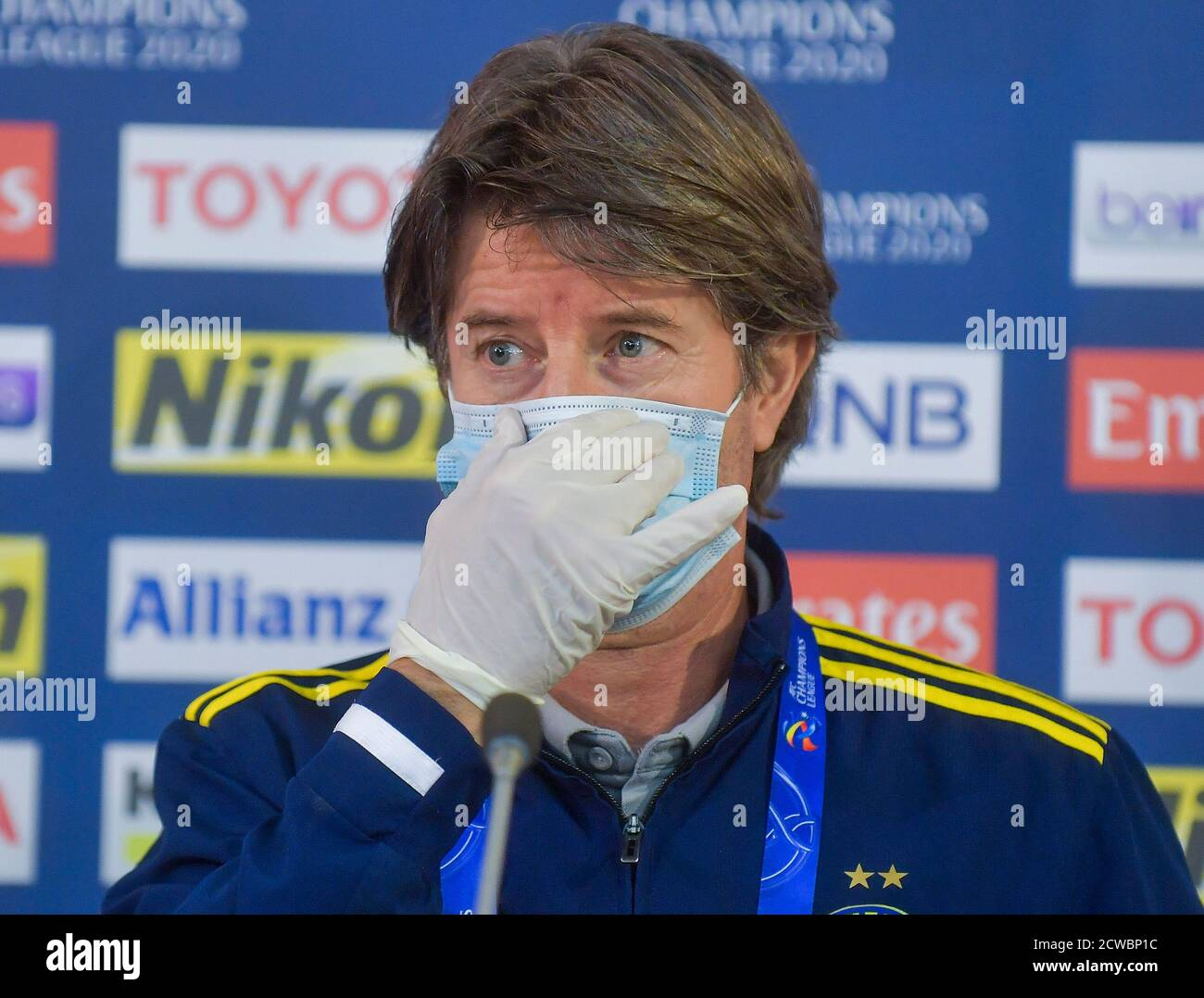 Doha Qatar 29th Sep 2020 Pakhtakor S Assistant Coach Pieter Huistra Attends A Press Conference Ahead Of