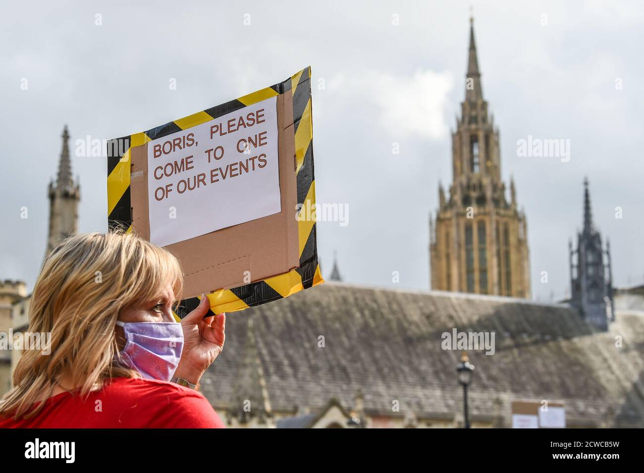 """London, UK. 29th Sept 2020. Events Industry workers gather for the silent protest #WeMakeEvents - """"Stand As One"""" at Parliament Square In London, United Kingdom on 29th September 2020. Photo by Tabatha Fireman/Female Perspective/Alamy Live News Stock Photo"""
