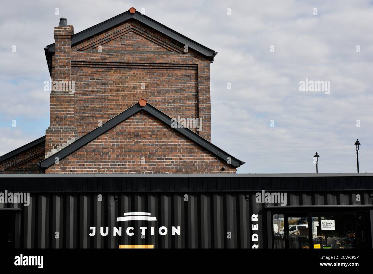 The Goodsheds, Barry dockland regeneration project. Auccessful launch despite the global economic recession and coronavirus crisis. Units already open Stock Photo