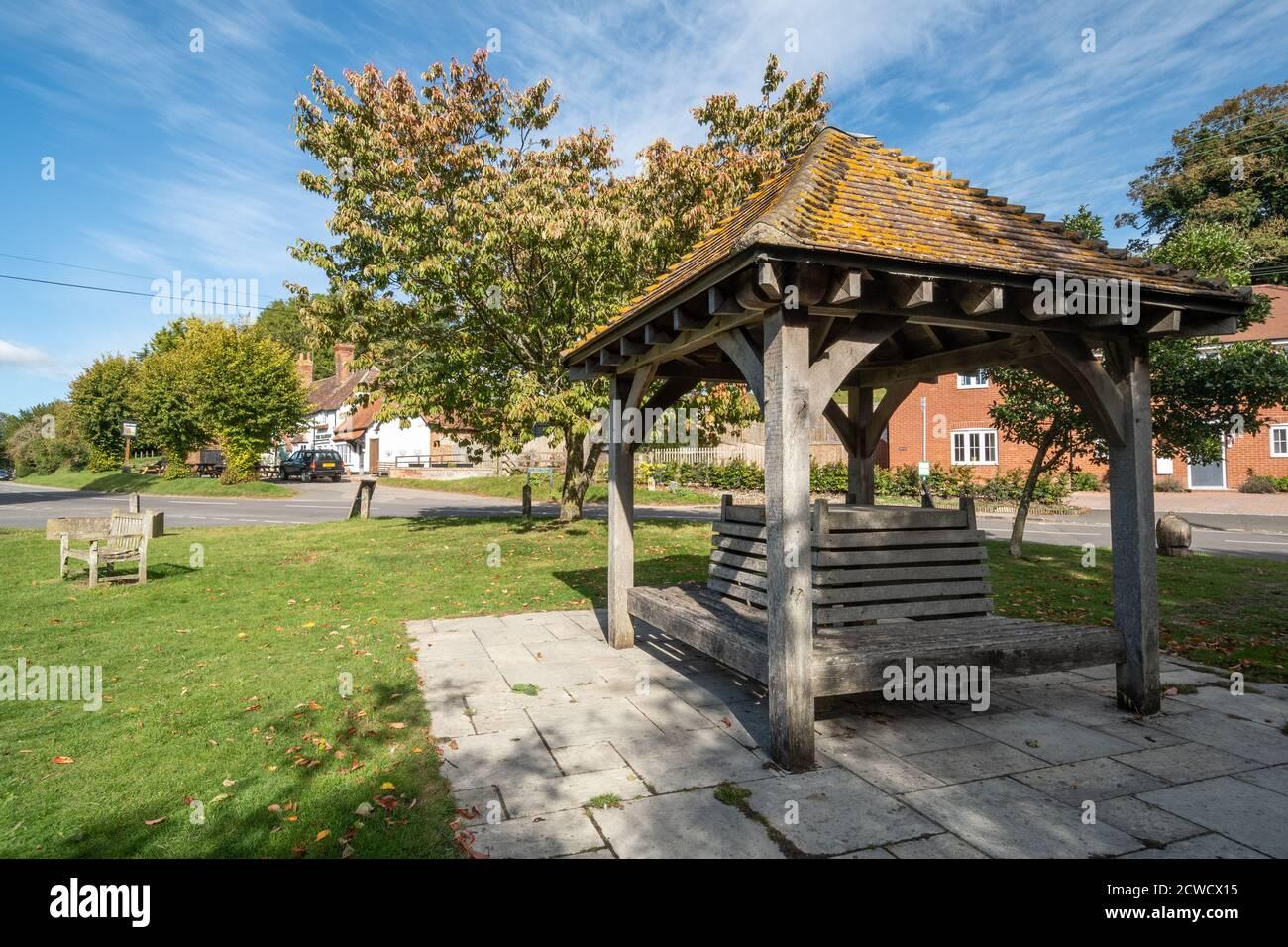 West Ilsley, Berkshire, UK - the gazebo built to mark the new millennium Stock Photo