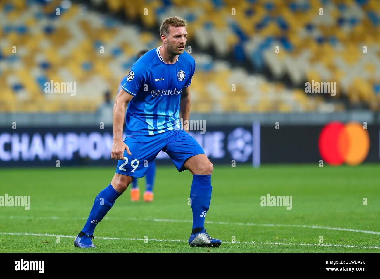 KYIV, UKRAINE - SEPTEMBER 29: Laurent Depoitre of AA Gent during the UEFA Champions  League, Play-offs, 2nd leg match between Dynamo Kyiv and KAA Gent Stock  Photo - Alamy