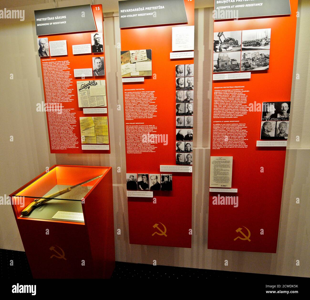 "Museum of the Occupation of Latvia: ""Incorporation of Latvia into the USSR"" panel. Riga Stock Photo"
