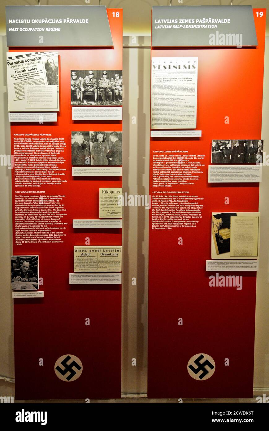 Museum of the Occupation of Latvia: Nazi occupation regime panel, Riga Stock Photo