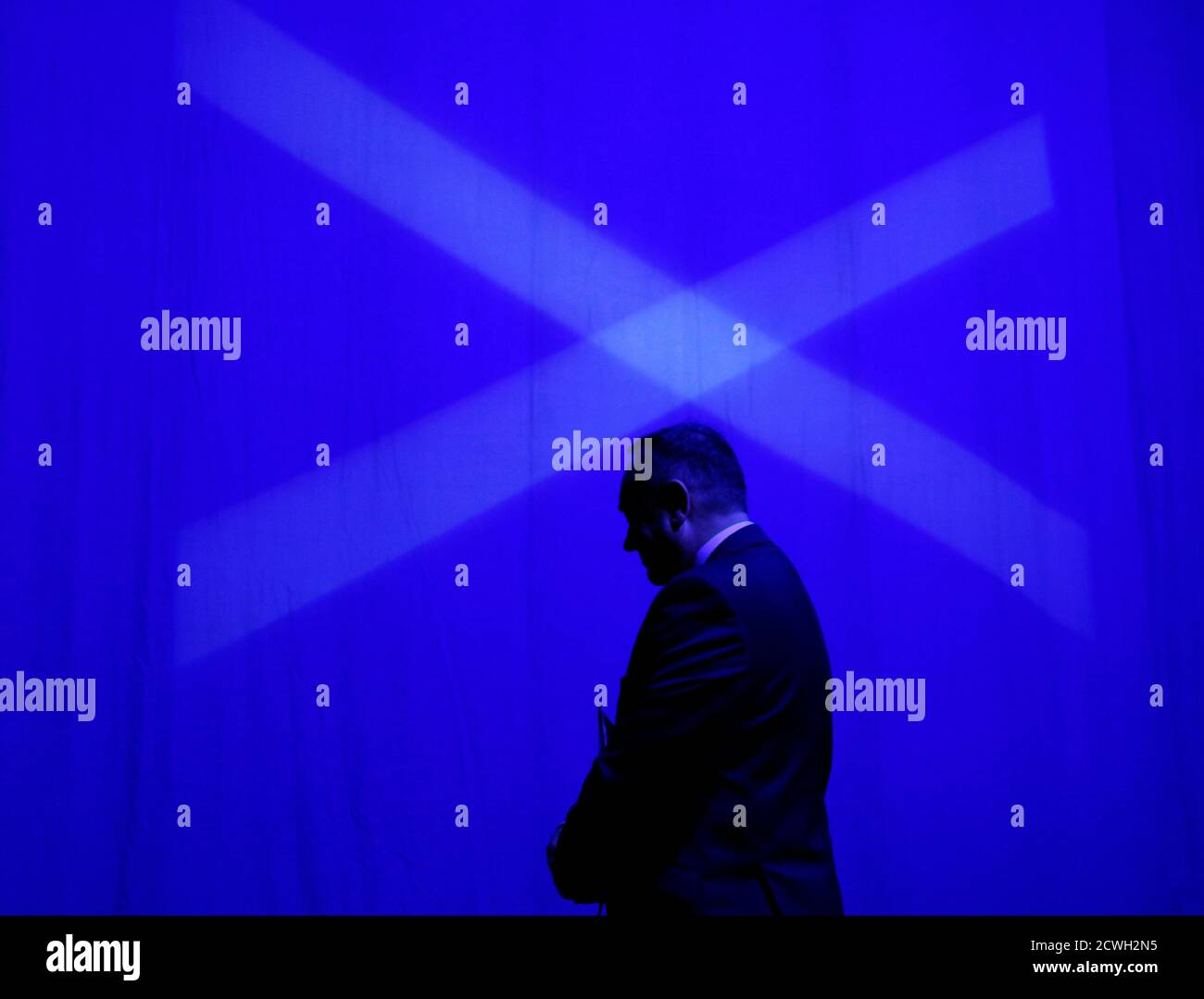 Scotland's First Minister Alex Salmond leaves the stage at the SNP Spring Conference in Aberdeen, Scotland April 11, 2014. REUTERS/Russell Cheyne   (BRITAIN - Tags: POLITICS TPX IMAGES OF THE DAY) Stock Photo