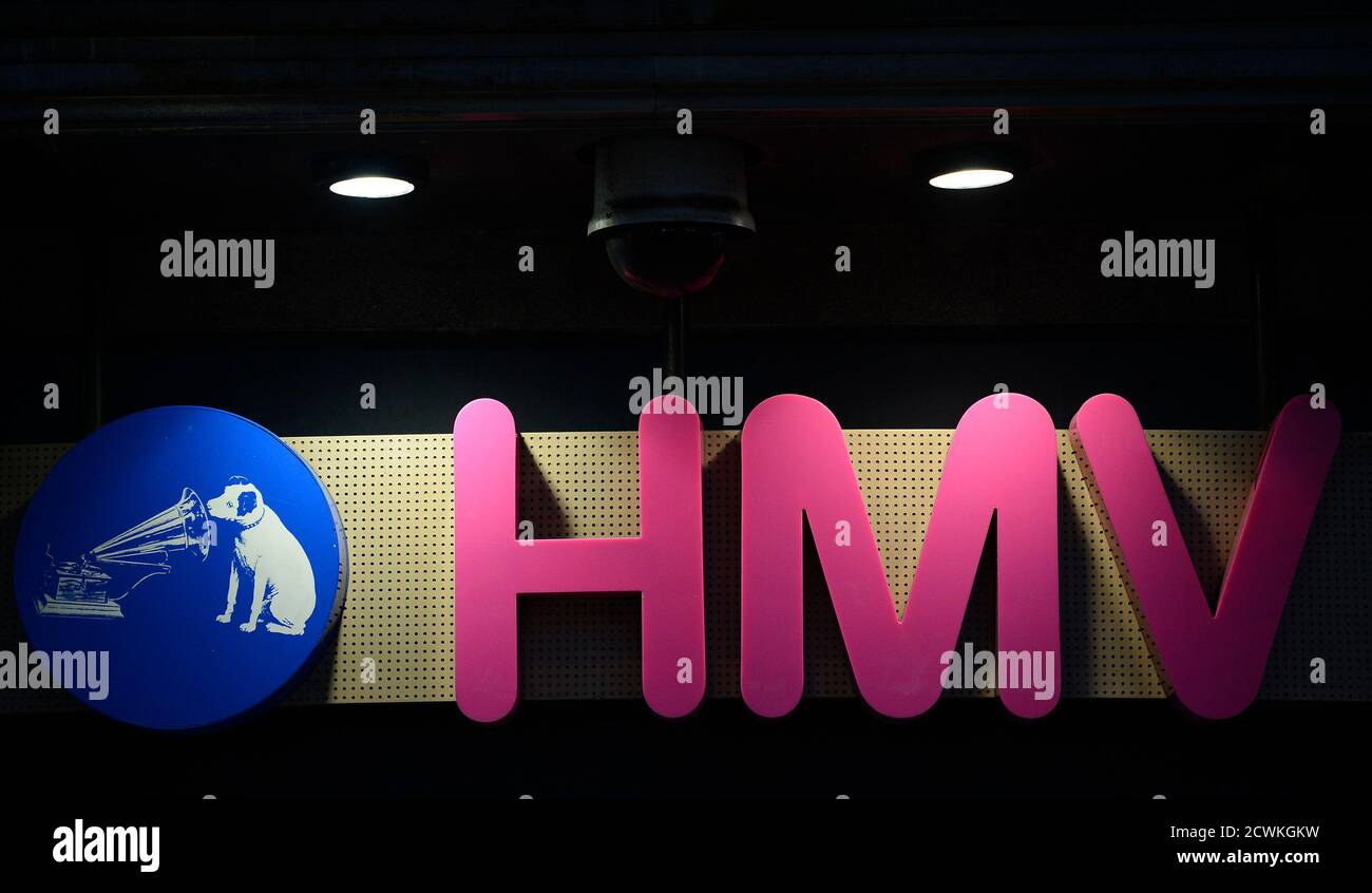 The sign is seen at the front of a HMV shop in central London, January 15, 2013. HMV, the 92-year-old British music retailer seeking protection from creditors, is unlikely to have much of a future beyond a rump of stores and the internet, if other recent retail failures are any guide.   REUTERS/Paul Hackett (BRITAIN - Tags: BUSINESS ENTERTAINMENT) Stock Photo
