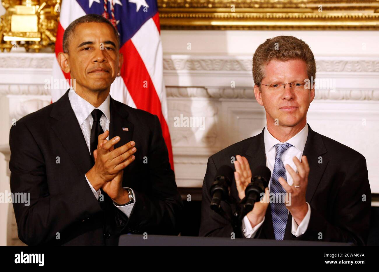 U.S. President Barack Obama announces that Secretary of HUD Shaun Donovan (R) will be his choice as the new Director of OMB, in the State Dining Room at the White House in Washington May 23, 2014. REUTERS/Larry Downing   (UNITED STATES - Tags: POLITICS BUSINESS) Stock Photo
