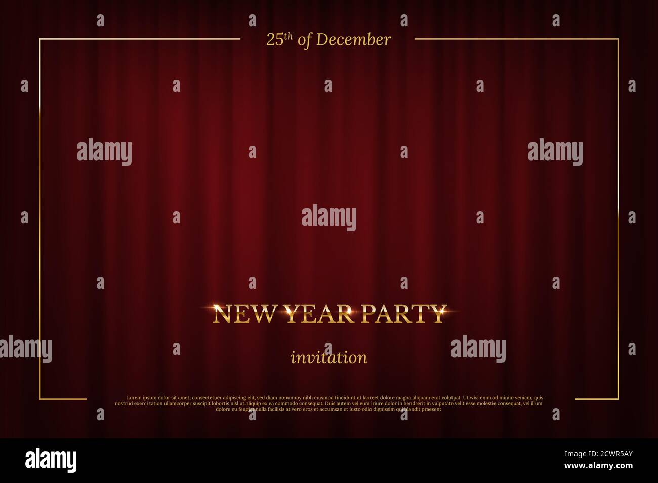 New Year Party invitation design template. Red curtain theater stage Stock Vector