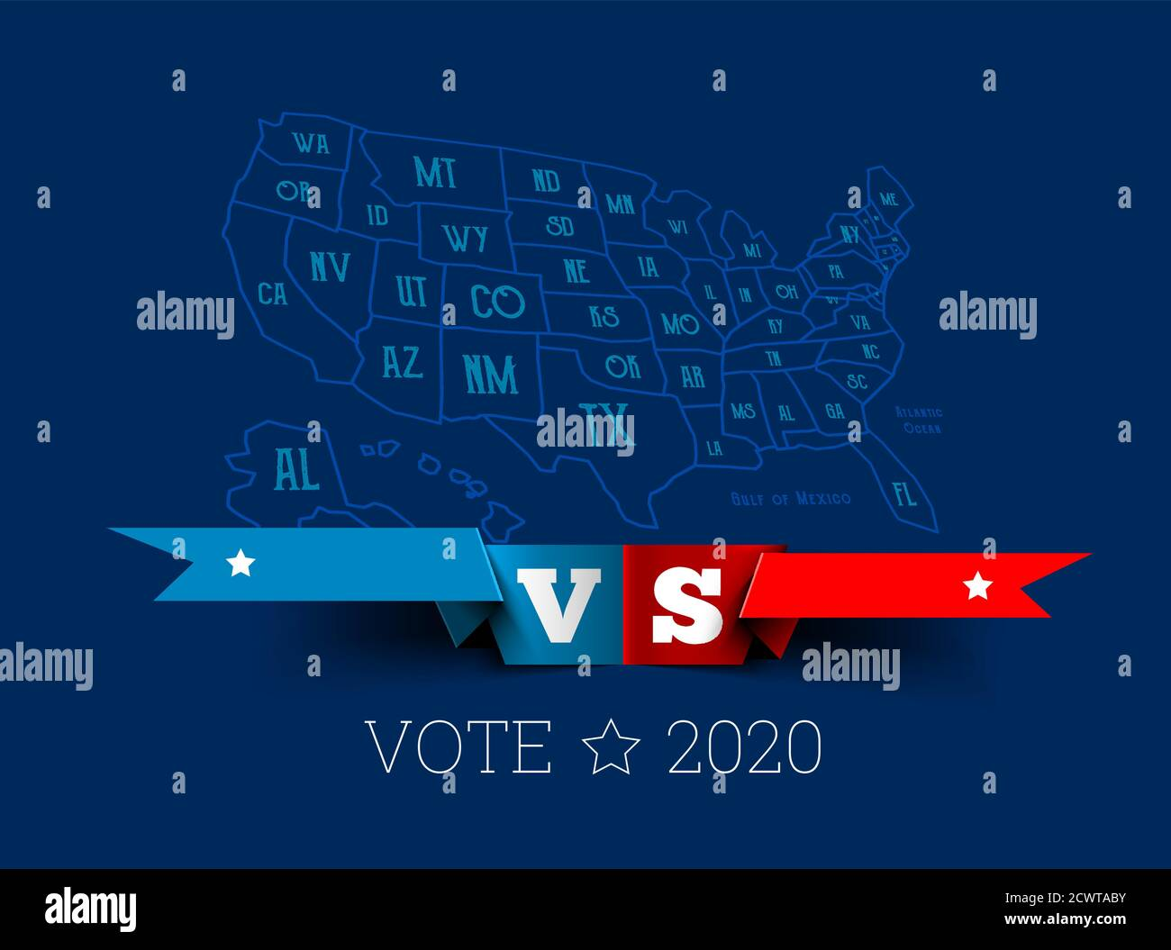 Presidential elections in the United States. Donald Trump vs. Joe Biden with map of America. Vector illustration Stock Vector