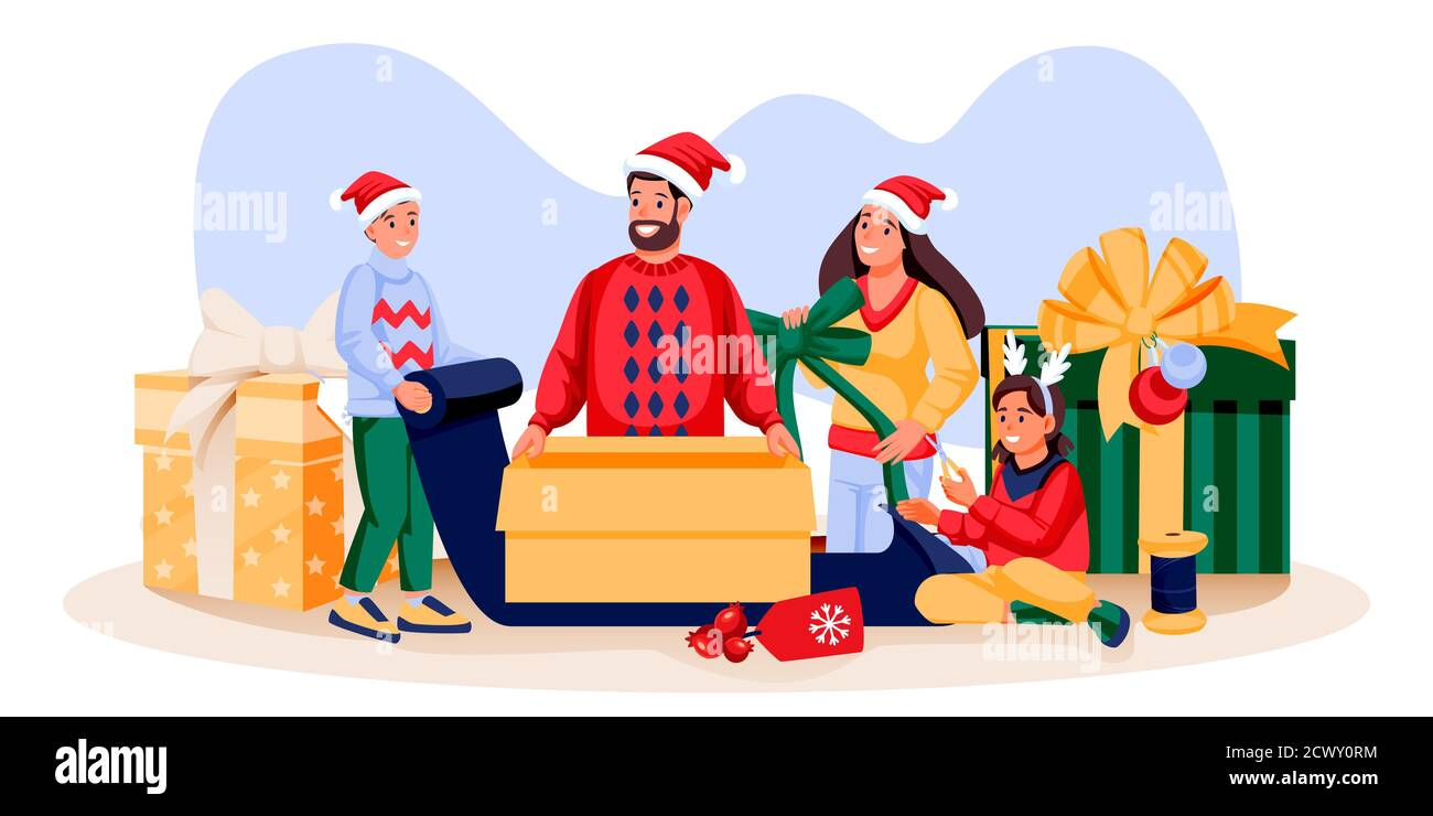 Happy Family In Holiday Costumes Packing Christmas Gifts Father Mother Son Daughter Preparing For New Year Celebration Vector Flat Cartoon Illust Stock Vector Image Art Alamy