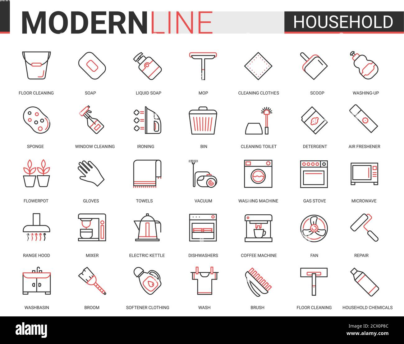 Household tools flat thin red black line icons vector illustration set, outline house cleaning, cooking or gardening linear symbols, housework collection of domestic cleaner equipment, home appliances Stock Vector