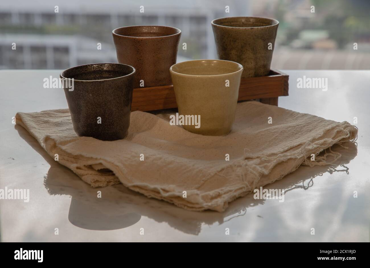Four Ceramics Mugs Handmade On Marble Table Of Living Room And City View Home Decor Space For Text No Focus Specifically Stock Photo Alamy