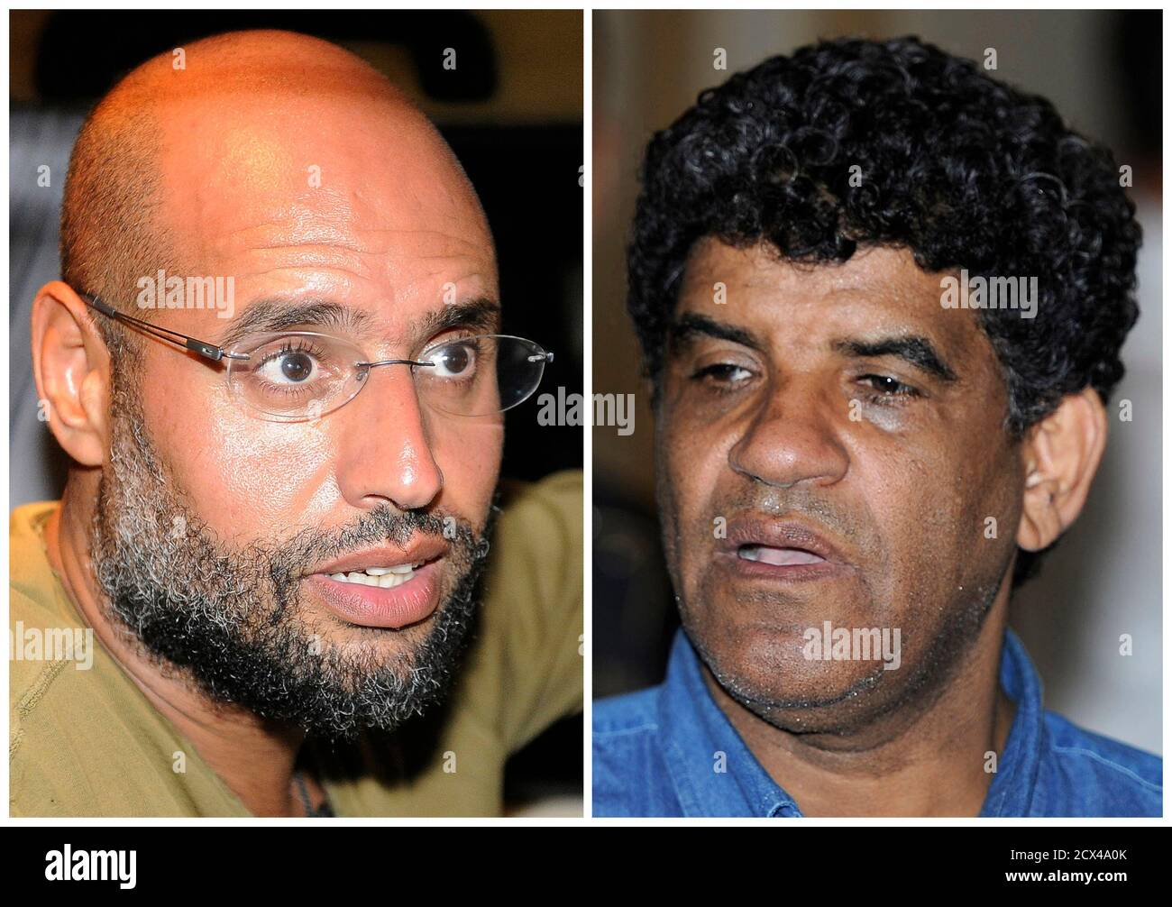 A combination photograph shows Saif Al-Islam (L), son of Libyan leader Muammar Gaddafi, talking to reporters in Tripoli in an August 23, 2011 file photo, and Abdullah Al-Senussi, head of the Libyan Intelligence Service speaking to the media in Tripoli in an August 21, 2011 file photo.  Saif al-Islam and former intelligence chief Abdullah al-Senussi propose to hand themselves in to the International Criminal Court, a senior official with Libya's National Transitional Council said on October 26, 2011. Saif al-Islam has been on the run since Libyan forces overran his father's home town Sirte at t Stock Photo