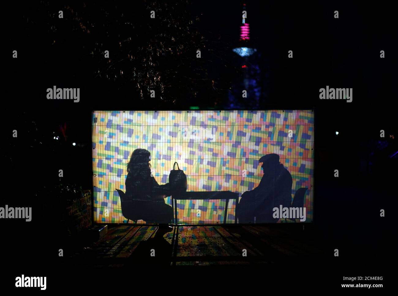 A man and a woman are seen behind a light installation by artist Wolfgang Flammersfeld at Palmengarten during the exhibition Winterlicht (winter light) in Frankfurt January 14, 2013. REUTERS/Lisi Niesner  (GERMANY - Tags: SOCIETY) Stock Photo