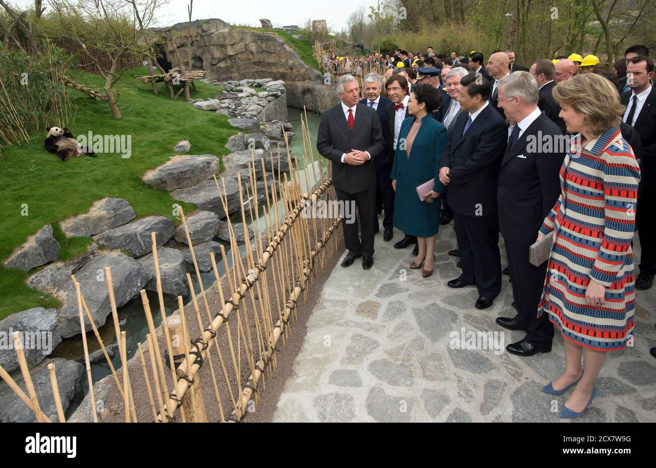 Eric Domb (L), CEO of Pairi Daiza Zoo, Belgium's King Philippe (2nd R),  Queen Mathilde (R), China's President Xi Jinping (C) and his wife Peng  Liyuan look at panda Hao Hao during