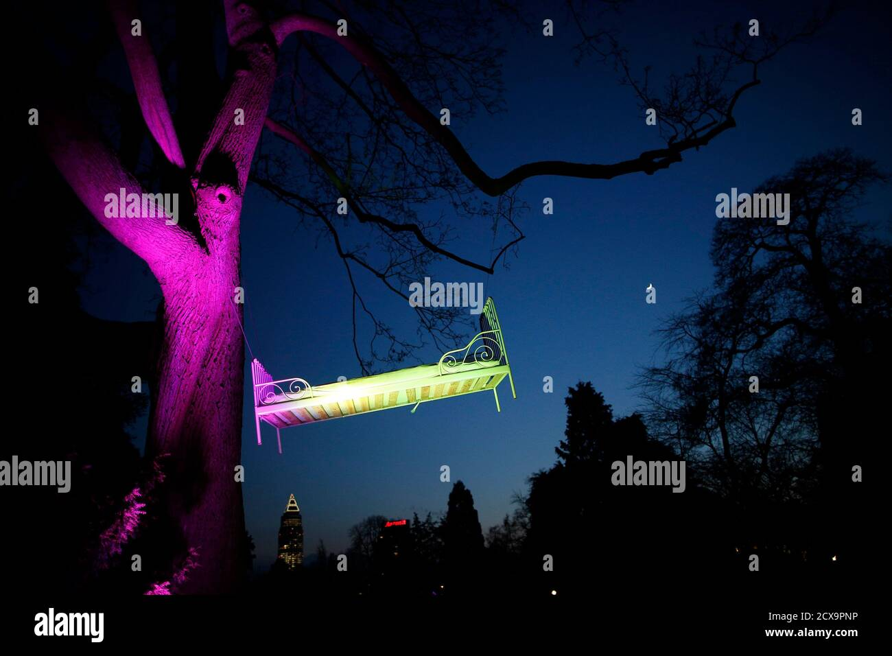 "A light installation by artist Wolfgang Flammersfeld is pictured at Palmengarten during the exhibition ""Winterlicht"" (winter light) in Frankfurt January 14, 2013. REUTERS/Lisi Niesner  (GERMANY - Tags: SOCIETY) Stock Photo"