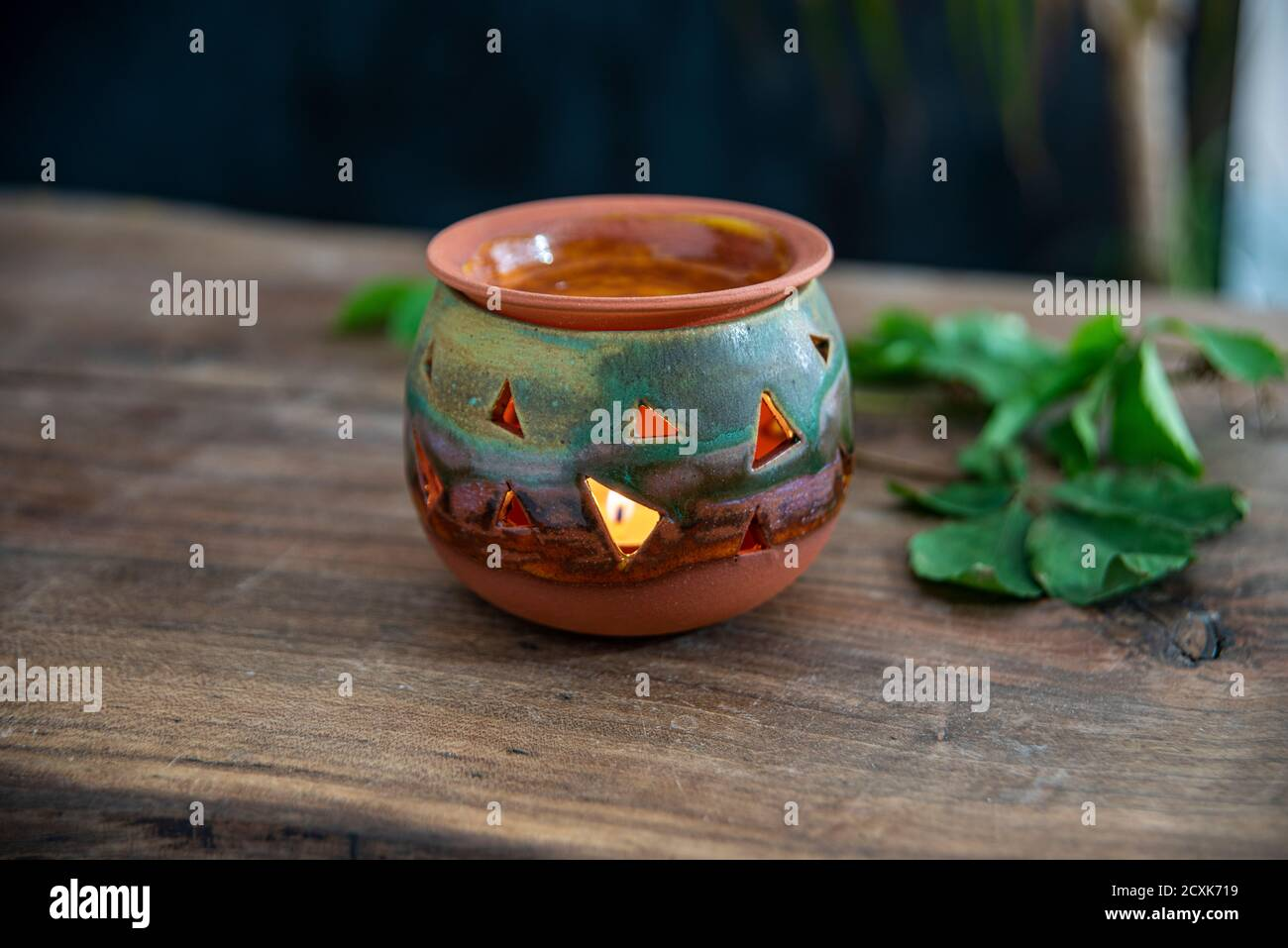 Handmade Ceramic Candle Holder Lantern Stock Photo Alamy