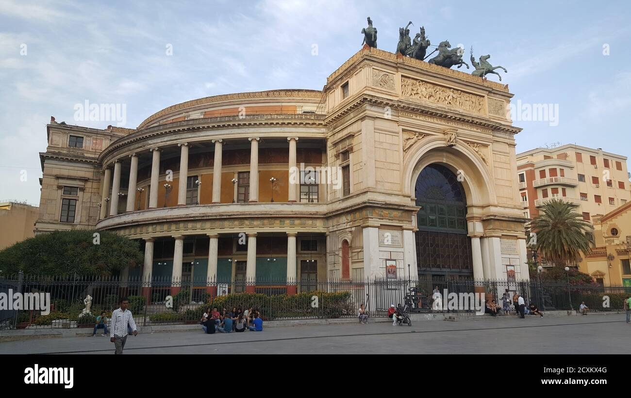 politeama garibaldi theater in palermo in beautiful illuminated evening. High quality photo Stock Photo