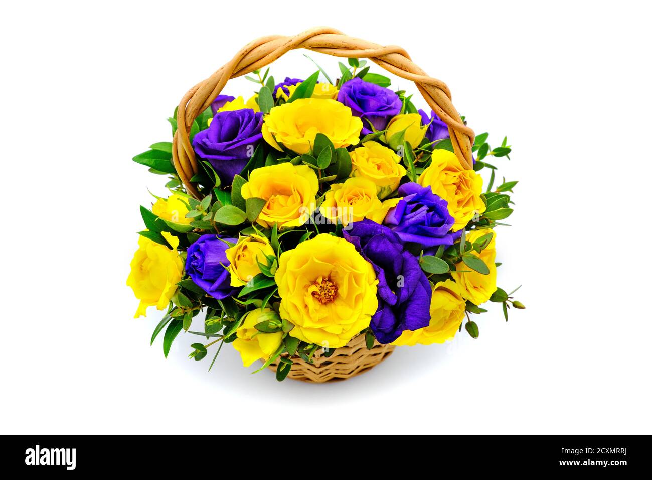 Basket With Yellow And Blue Flowers On Isolated White Background Bouquet Of Yellow And Purple Roses Beautiful Flowers In A Wicker Basket Bouquet Of Stock Photo Alamy