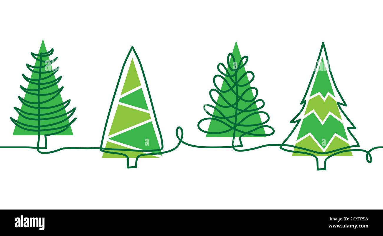 Christmas Pine Trees Doodle Border One Continuous Line Drawing Simple Vector Green Christmas Trees Border Stock Vector Image Art Alamy