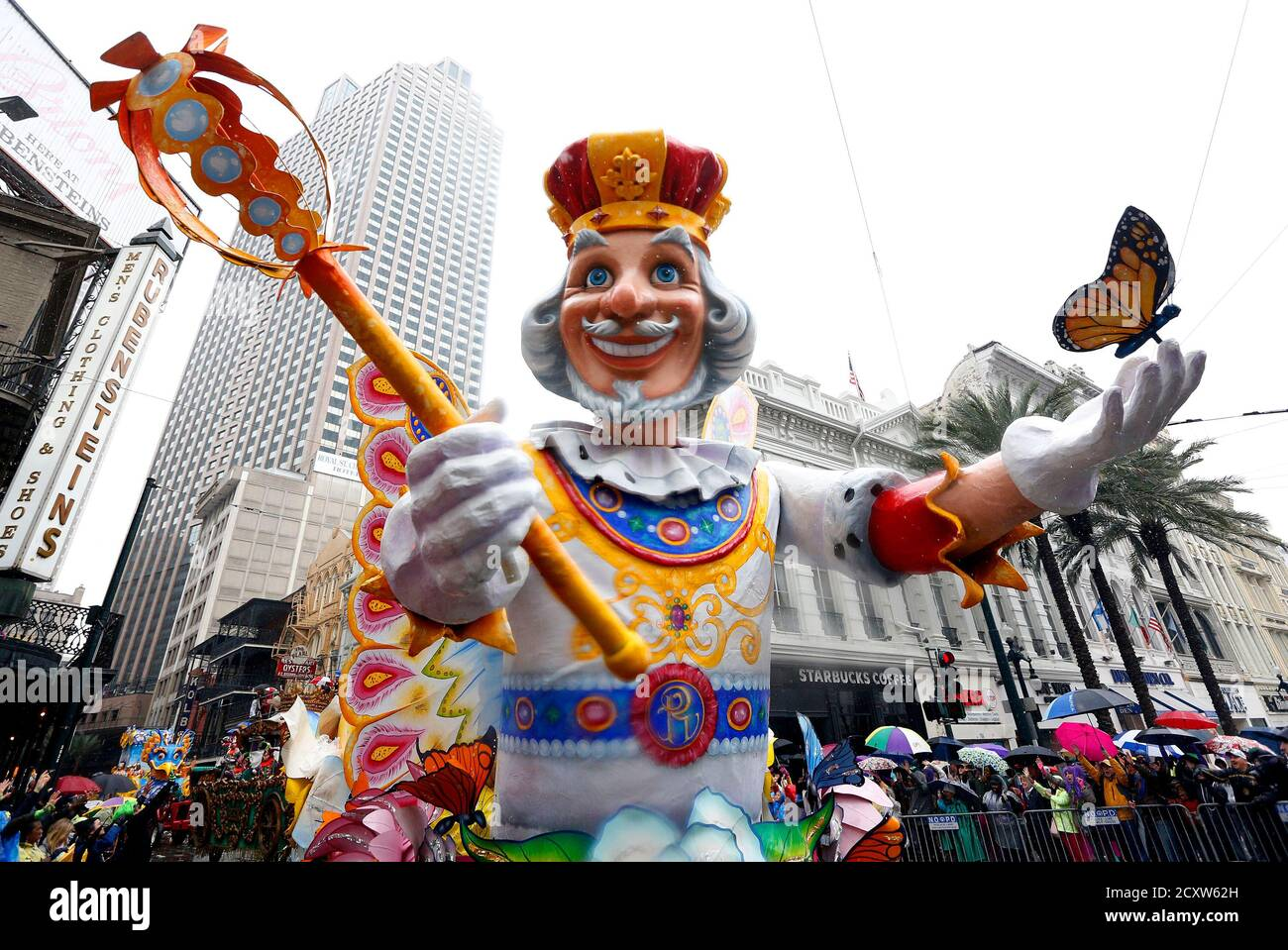 A float from the Krewe of Rex parade is seen on Mardi Gras in New Orleans, Louisiana March 4, 2014. REUTERS/Jonathan Bachman  (UNITED STATES - Tags: SOCIETY ENTERTAINMENT) Stock Photo