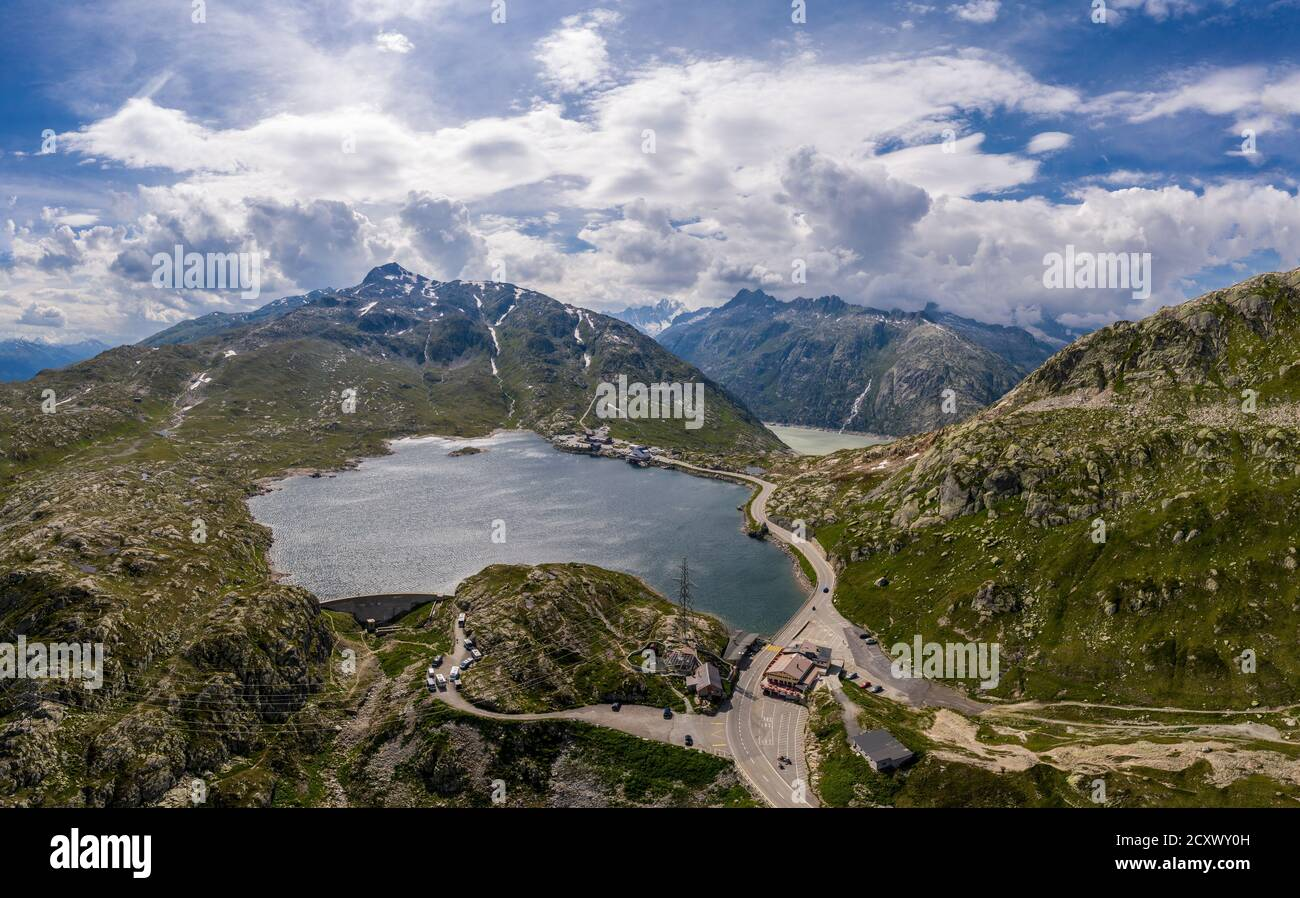 Aerial view of the lake at the top of the Grimsel pass between the cantons of Bern and Valais in the alps in Switzerland Stock Photo