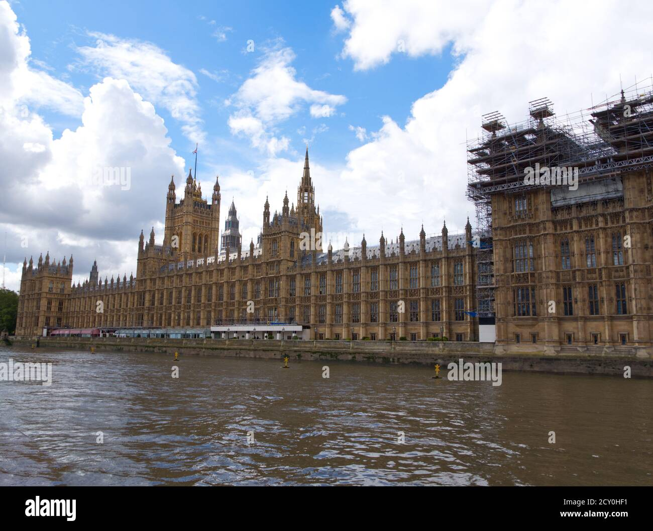London's Magnificent Houses of Parliament the seat of Englands power. Westminster Palace with Big Ben Tower. House of Commons a Gothic Architecture. Stock Photo