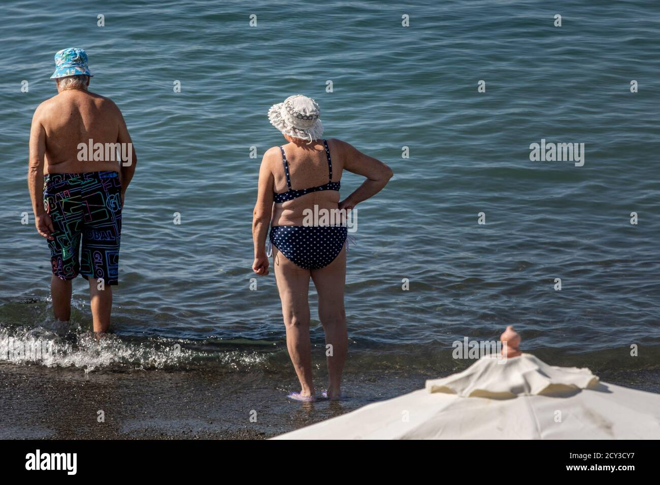 Retired People Sunbathe On The Black Sea Coast On The Central Beach Of Sochi City N Krasnodar Krai Russia Stock Photo Alamy