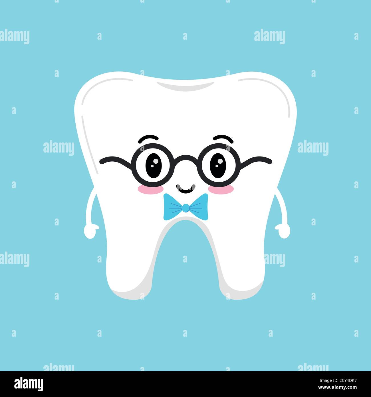 Stylish cute tooth in glasses with blue bow tie. Stock Vector