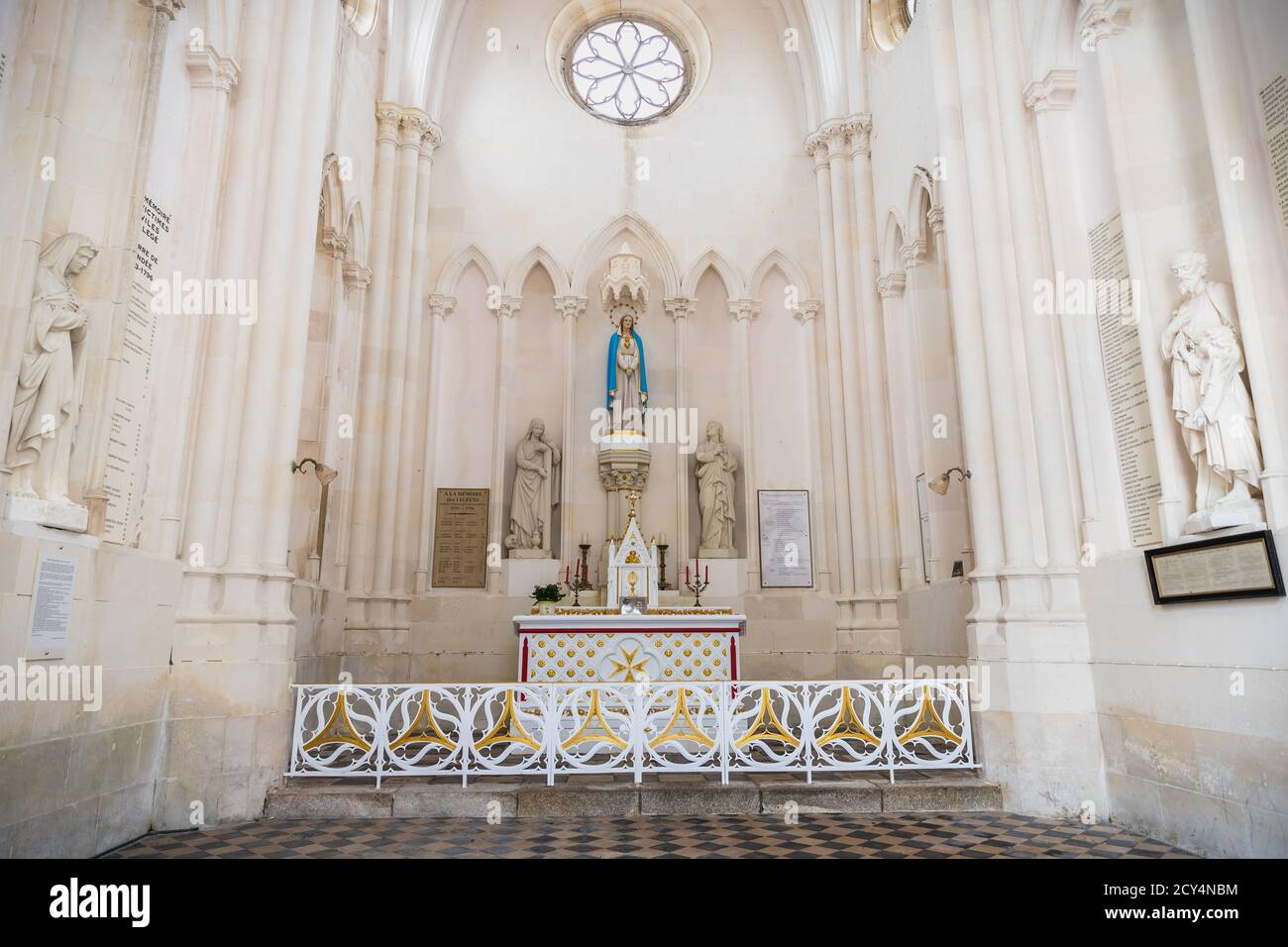 Lege, Loire-Atlantique, France - September 21, 2020: architectural detail of the interior of the Notre-Dame-de-Pitie chapel in the center of a typical Stock Photo