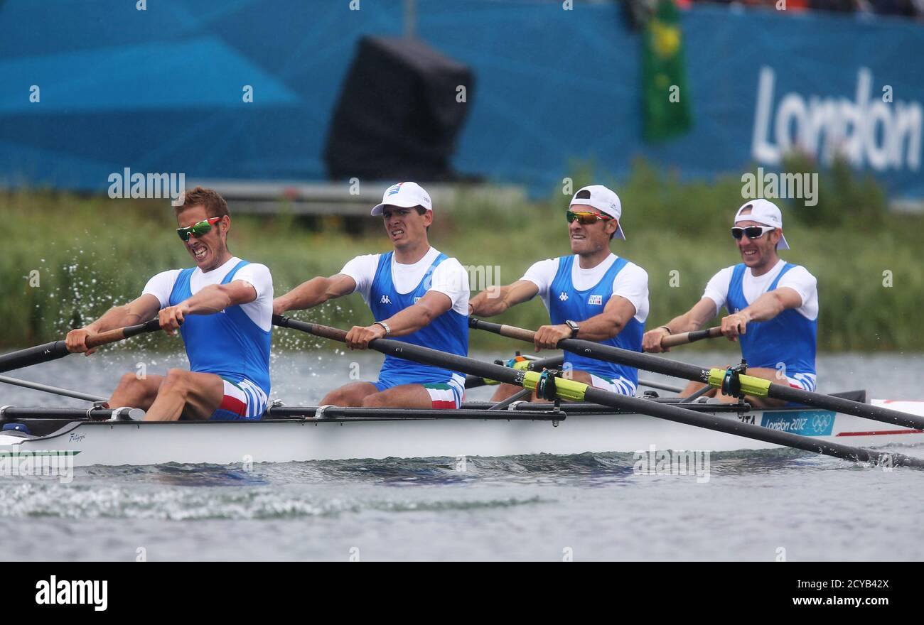 Team Italy rows in the men's lightweight four semifinals at Eton Dorney during the London 2012 Olympic Games July 31, 2012.      REUTERS/Sergio Moraes (BRITAIN  - Tags: SPORT OLYMPICS ROWING) Stock Photo