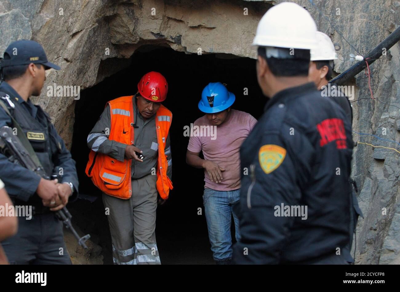 Rescue Team Members Inspect The Mine Where Nine Miners Are Trapped At Cabeza De Negro Gold