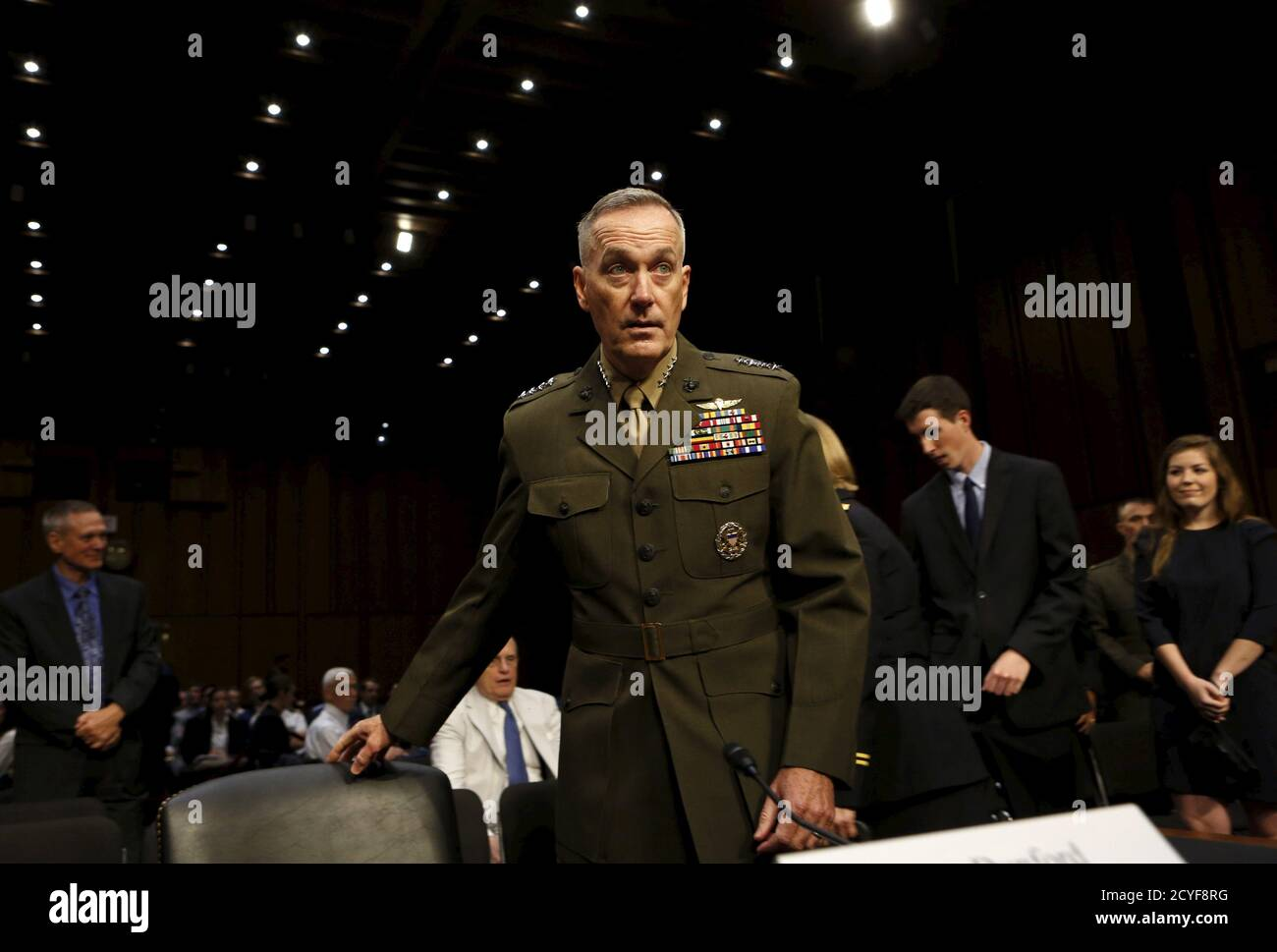 Marine Corps Gen. Joseph Dunford arrives at the Senate Armed Services committee nomination hearing to be chairman of the Joint Chiefs of Staff on Capitol Hill in Washington July 9, 2015. REUTERS/Yuri Gripas Stock Photo
