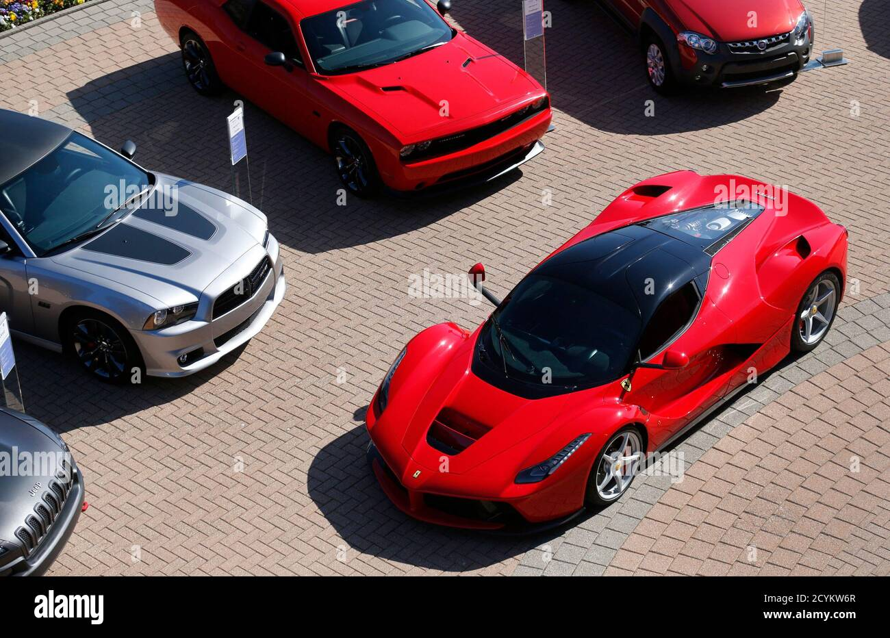 A Laferrari R A Limited Production Sports Car Built By Ferrari Is Displayed Outside Chrysler World