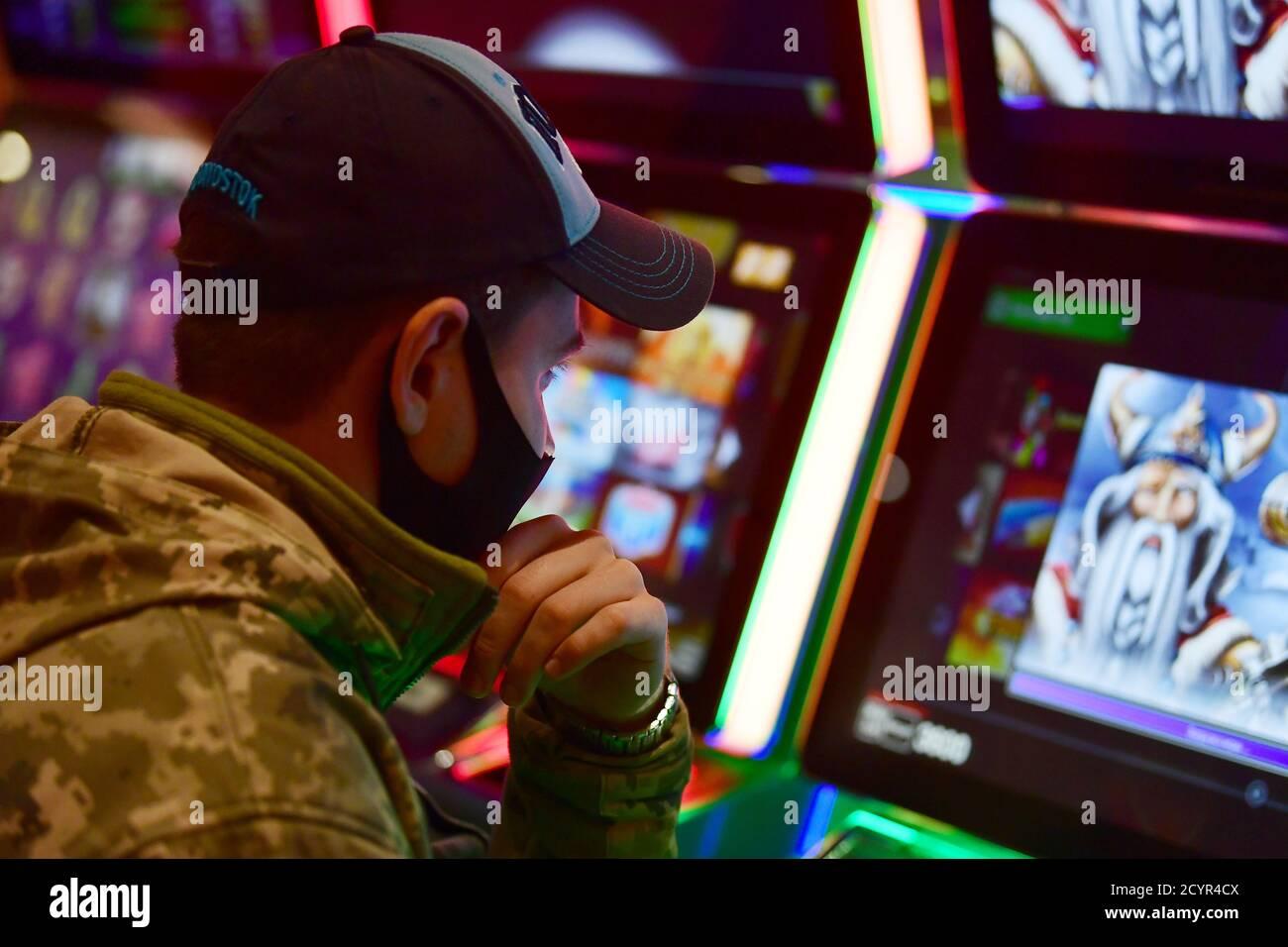 Primorye Territory Russia 2nd Oct 2020 A Man Plays A Slot Machine At Shambala Casino In
