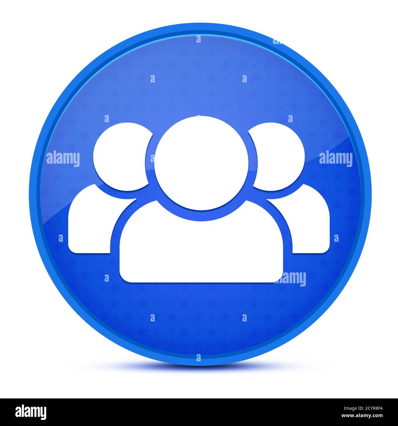People aesthetic glossy blue round button abstract illustration Stock Photo