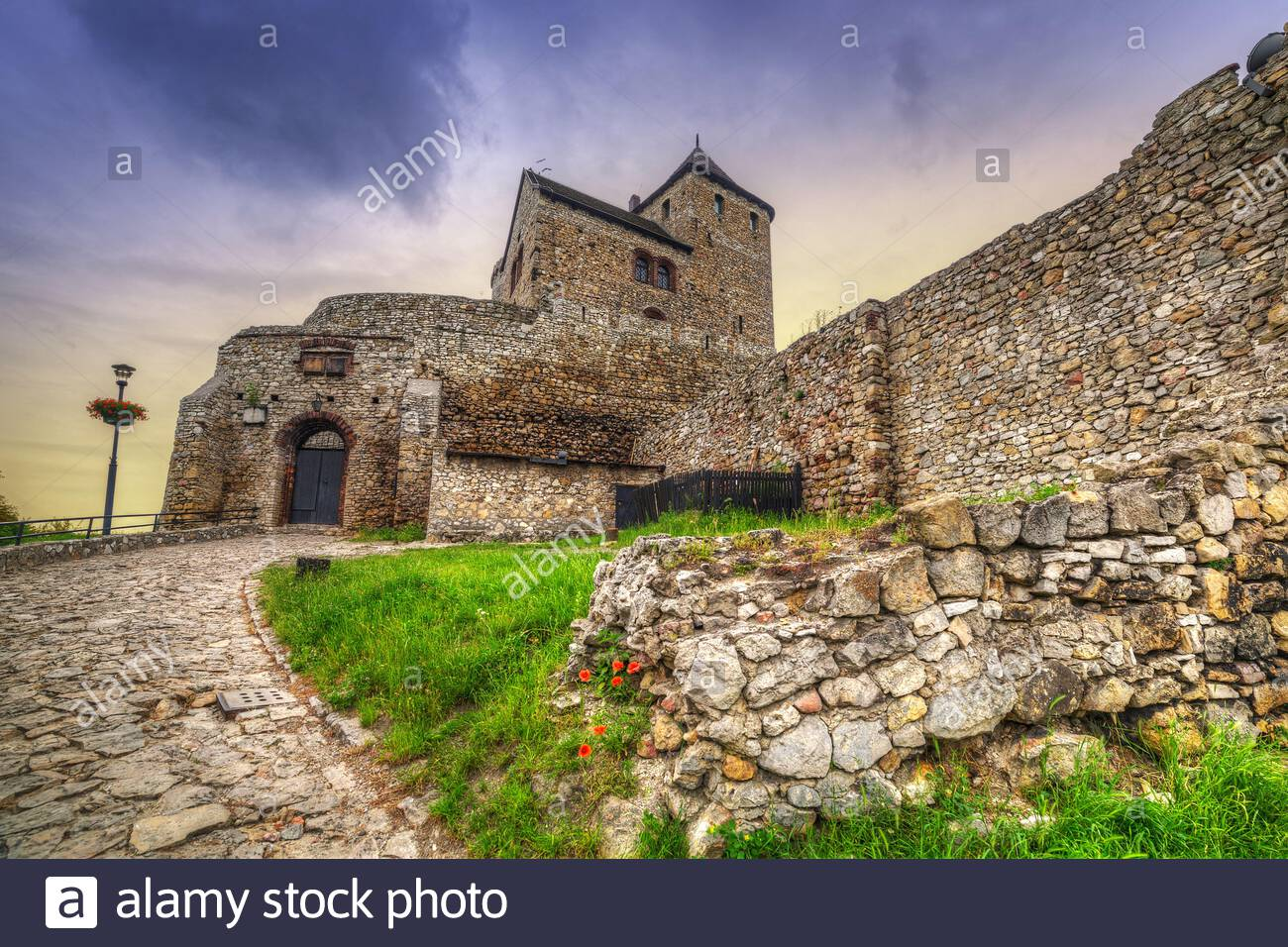 Medieval castle in Bedzin at sunset, Poland Stock Photo