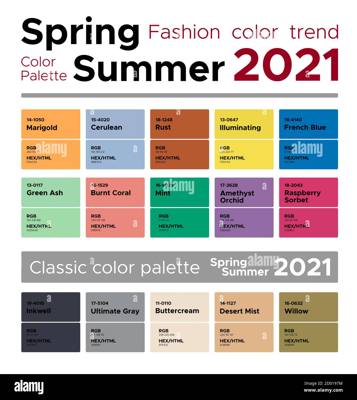 Fashion Color Trends Spring Summer 2021 Palette Fashion Colors Guide With Named Color Swatches Rgb Hex Colors Stock Vector Image Art Alamy