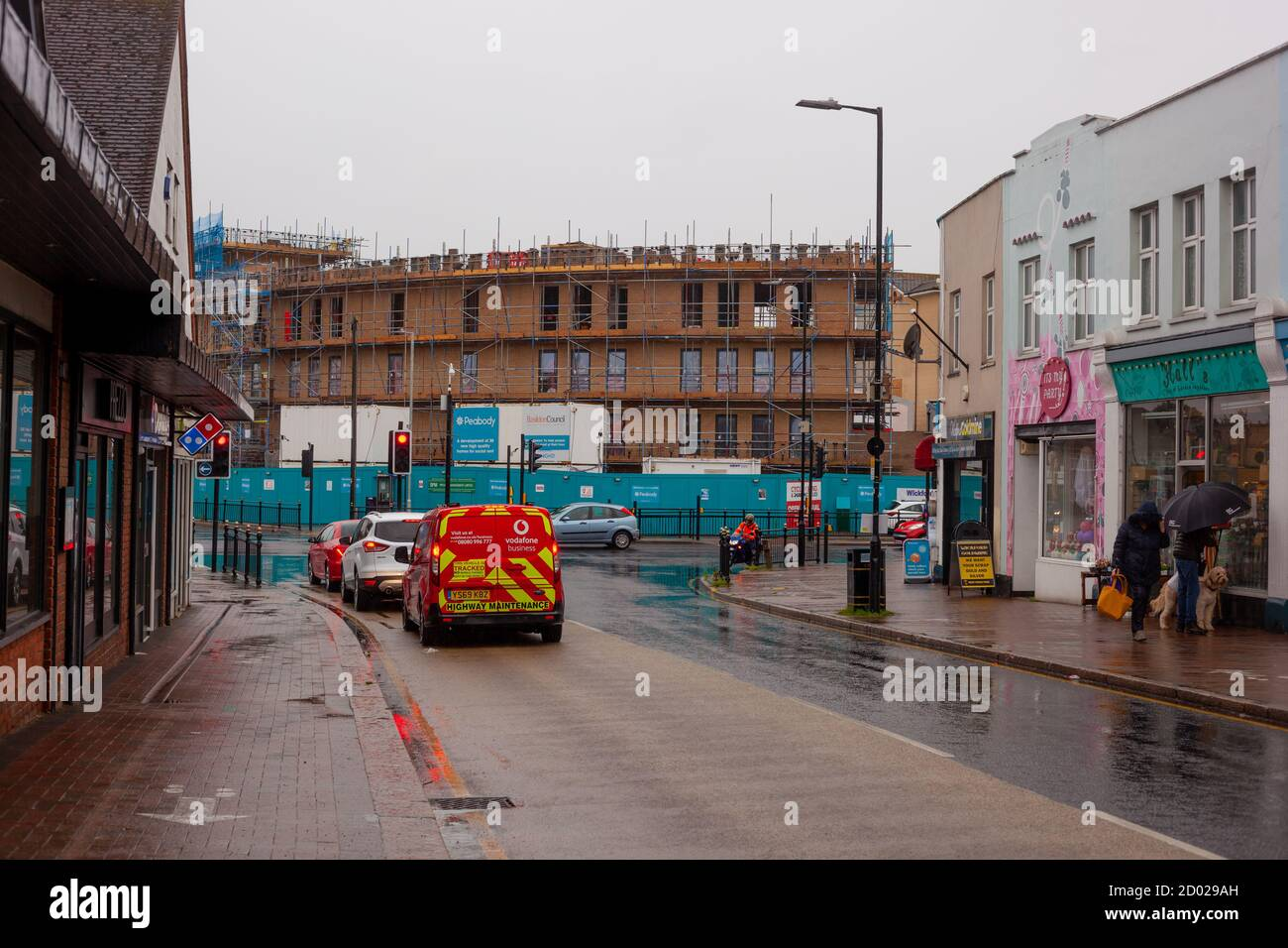 Essex Streets & Towns - View down Wickford High Street with Peabody New building development site in background. Britain, UK, 2020 Stock Photo