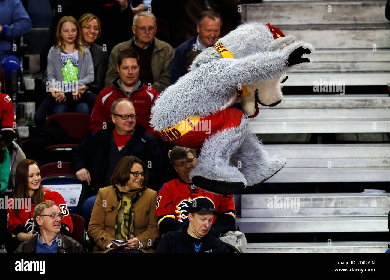 Harvey The Hound The Calgary Flames Mascot Jumps Over A Fan S Head During The Third Period