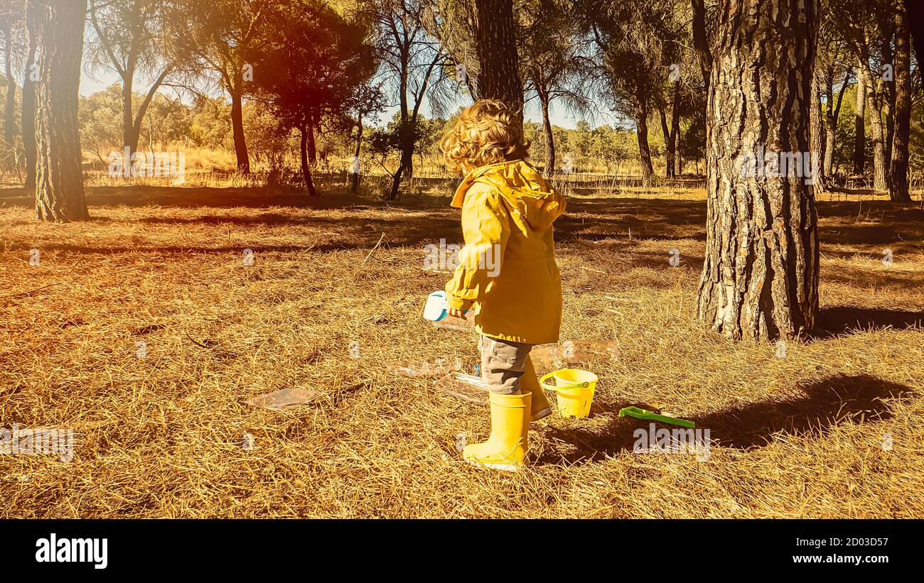 Young child is picking up plastic waste in the forest as a volunteer. Toddler and young children early environmental education concept. Plastic free Stock Photo