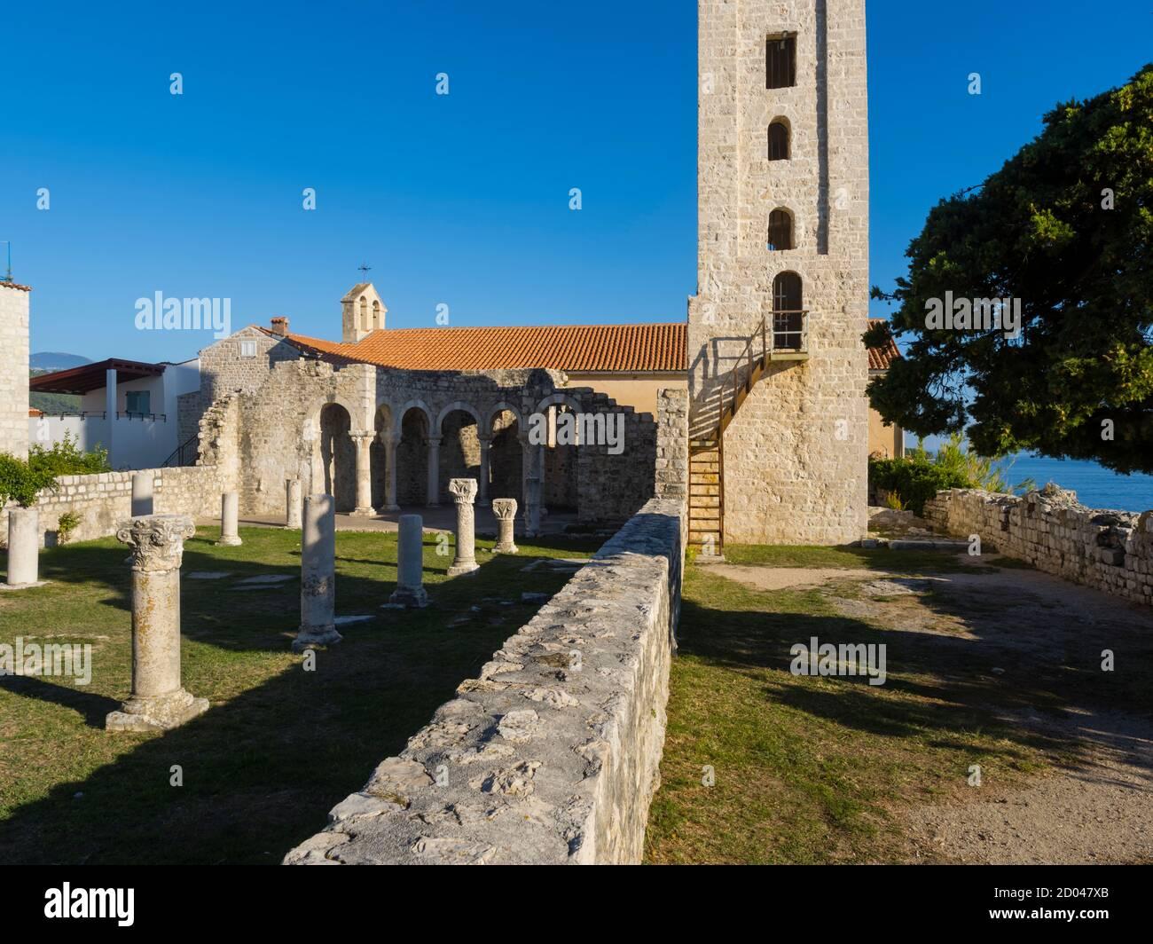 Remains ruins of medieval site in oldtown ruined Basilica of St John Ivan the Evangelist church Rab town on Rab island in Croatia Europe Stock Photo